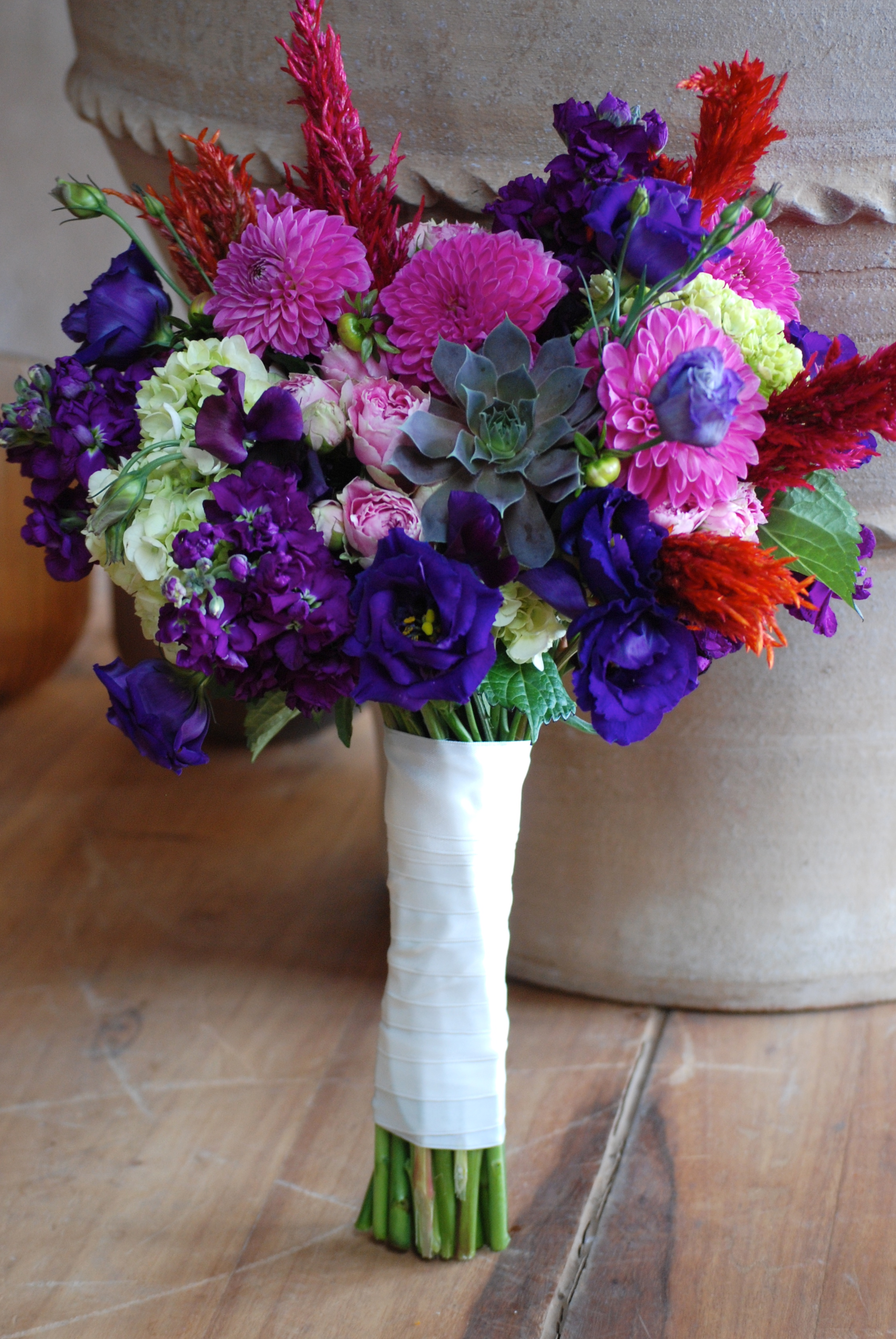 Purple Pink Green Bridal Bouquet Cebolla Fine Flowers